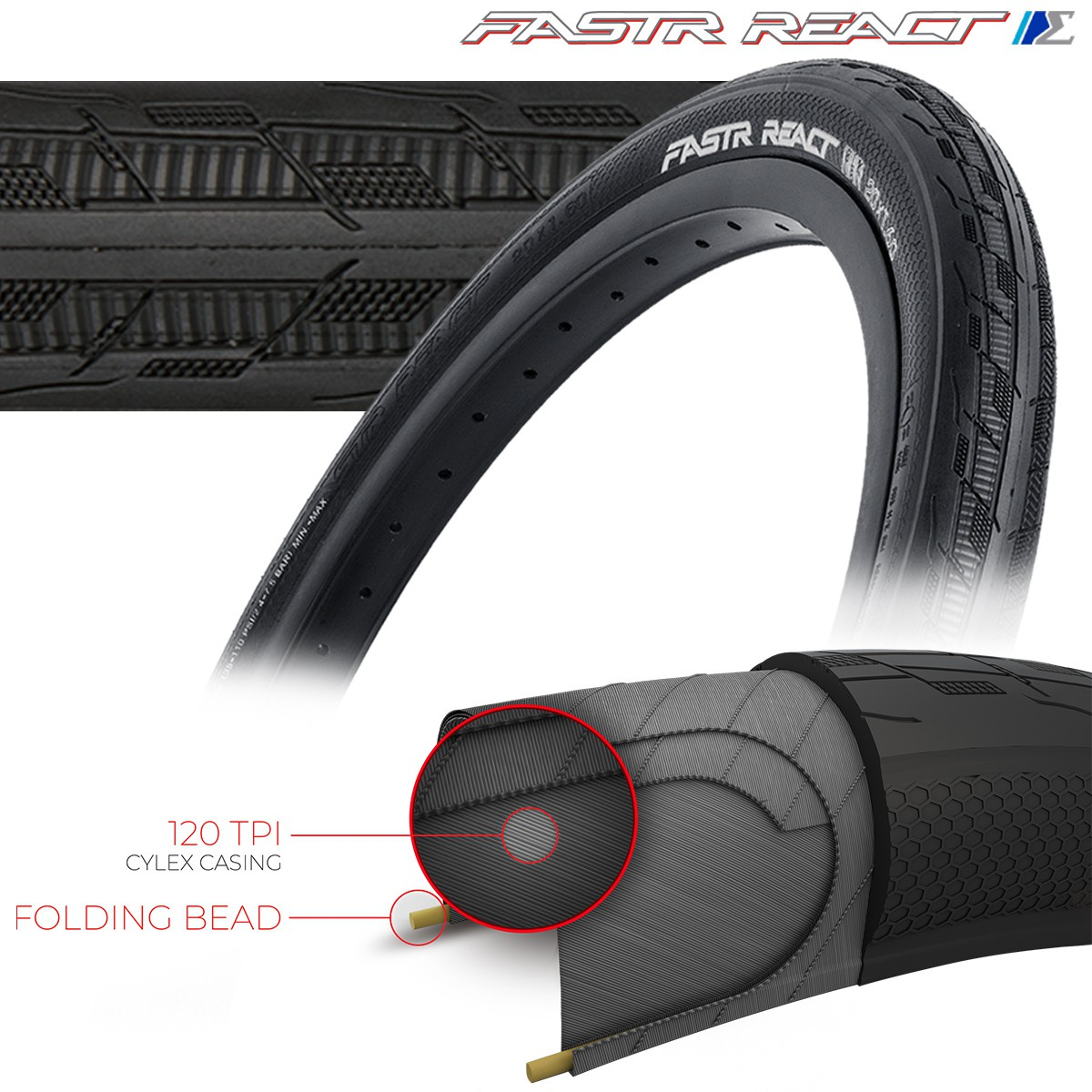 TIOGA FASTR REACT S-SPEC TIRES - 120 TPI - FOLDING BEAD