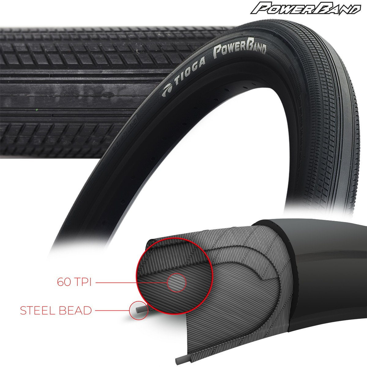 TIOGA POWERBAND TIRES - 60 TPI - WIRE BEAD