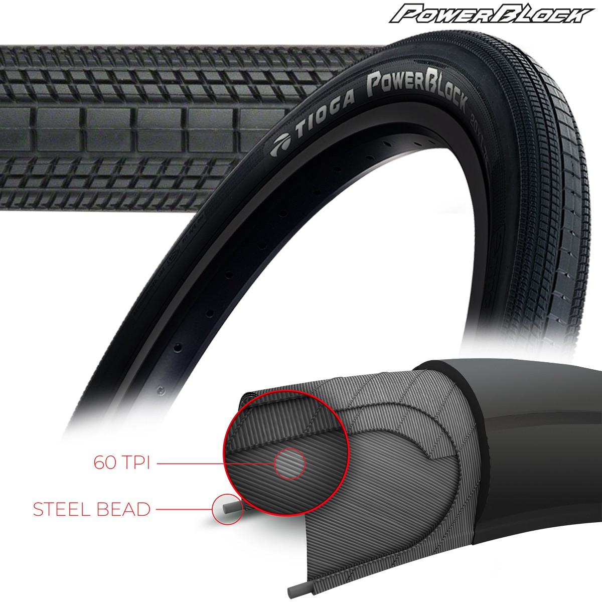 TIOGA POWERBLOCK TIRES - 60 TPI - WIRE BEAD