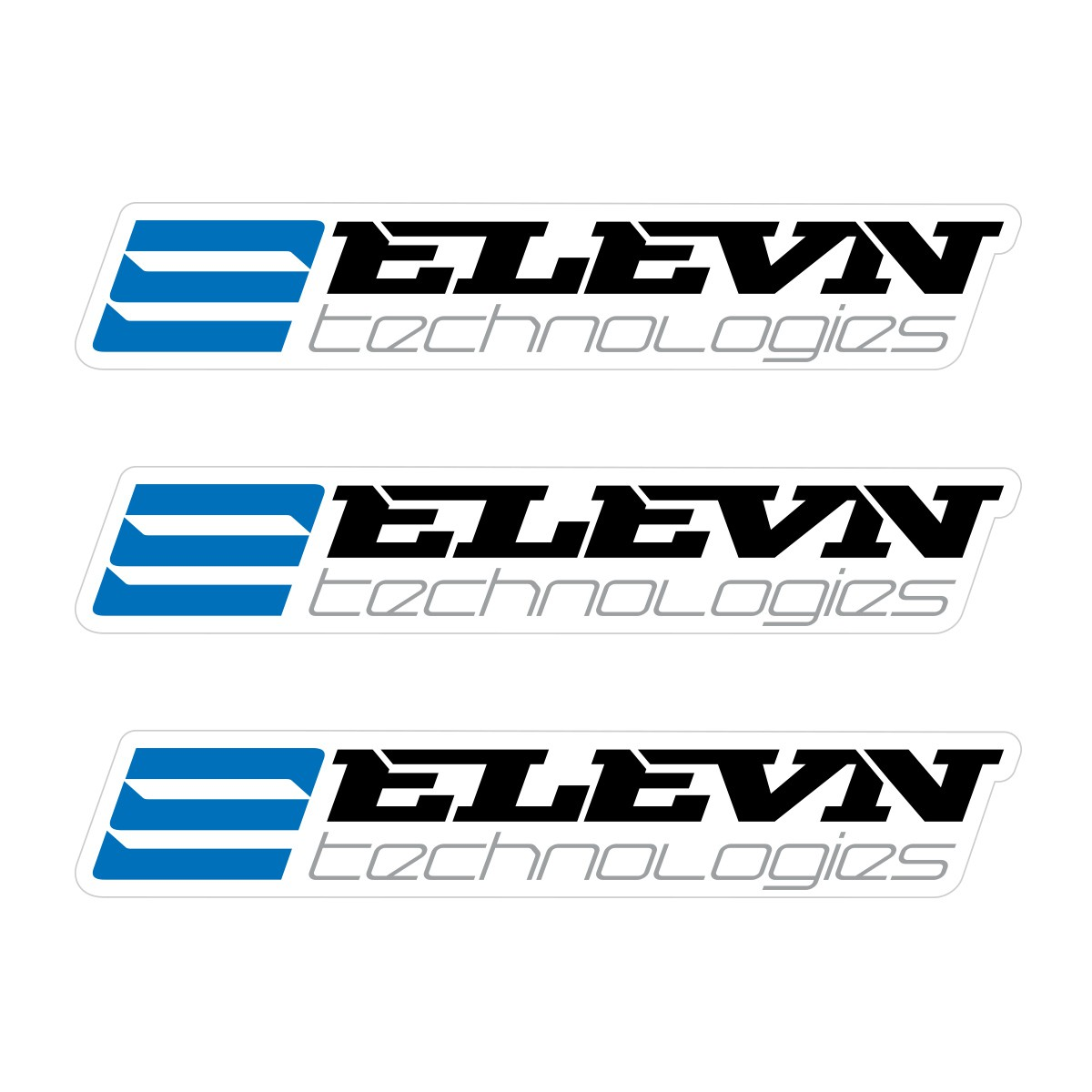 ELEVN SMALL STICKER 111x19MM PACK X 3 BLACK/BLUE